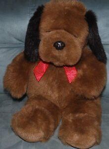 "Big 26"" Brown Puppy Dog Gund Plush Toy Stuffed Animal Red White Polka Dot Bow"