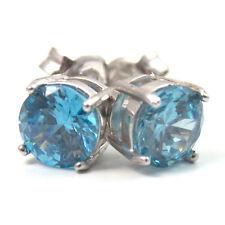 Stud Earrings Diamond Unique 4 Claw Aquamarine Diamond Sterling Silver