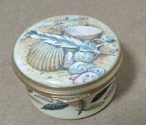 Staffordshire Enamel Trinket Box Sea Shells Feathers England Pill Box