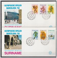Surinam / Suriname 1992 FDC 154ab Olympics basketball basket soccer swimming bik