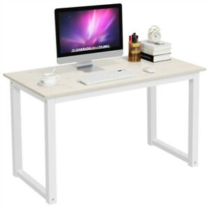 Modern Home Office Computer Desk with White Metal Frame and Light Walnut Wood
