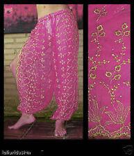 Harem Pants Belly Dance Fuchsia Pink w/ Gold Brocade Slit 8