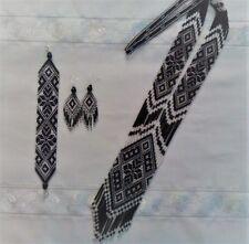 BEADED GERDAN earrings bracelet SET HANDCRAFTED Jewelry Ukrainian traditional