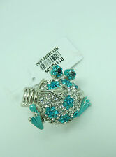 Fashion Ring stretch-frog- silver tone -blue & clear stones-bling-large