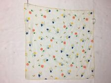 Vtg Flower Scarf Floral Cotton Blend 26x26 Made USA Red Yellow Blue Green Orange