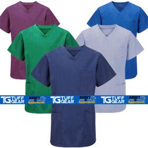 Medical Scrub Uniform Top Mens ladies Tunic Nurse Hospital Work Healthcare Tops