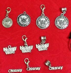 NAVY ANTIQUE SILVER CHARM - MILITARY  WIFE - USN - UNITED STATES - VARIETY