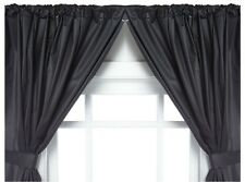 Carnation Home Fashions Vinyl Bathroom Window Curtain. 2 Panels with Tie Backs