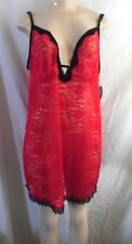 SECRET TREASURES RED BLACK LACE  STRAPS BABYDOLL CHEMISE NIGHTGOWN 2X 18-20