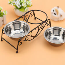 New listing Double Dog Pet Bowls Dish Stainless Steel Stand Feeder Cat Food Water Iron Bowl