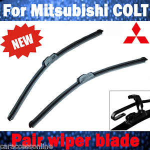 Pair Frameless Windscreen Wiper Blade For Mitsubishi COLT RG RZ 2004 -2013