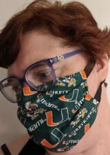 Face mask  UNIVERSITY OF MIAMI  (All Sizes)  - Handmade