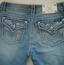 Tribal Miss Me Womens Signature Boot Mid Rise Straight Embroidered Pocket Jeans