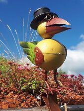 Regenrinne Vogel Dachrinne bunt Edelrost Optik Garten Terrasse Metall Figur Zaun
