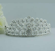 Beauty Pageant Queen Bridal Wedding PEACOCK Rhinestone Tiara Full Circle Crown