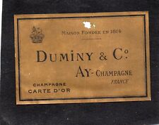 VIEILLE LITHOGRAPHIE 19e CHAMPAGNE DUMINY & CO A AY/CHAMPAGNE   §28/06/18§