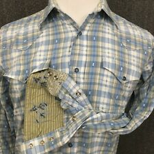 Roper Men's Button Front Long Sleeve Pearl Snap Western Shirt M EUC Lot of 2