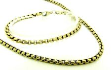 Ladies Womens Solid 9ct 9carat Yellow Gold Box Link Chain & Bracelet Set