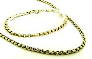 Ladies Womens Solid 9ct 9carat Yellow Gold Box Link Chain & Bracelet Set