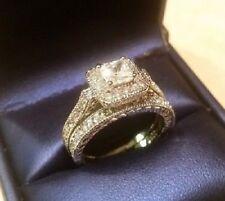 2.00 Ct Princess Cut Vintage Diamond Halo Engagement Ring Bridal Wedding Set
