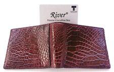 Genuine Real Belly Alligator Crocodile Skin Leather Man Bifold Dark Brown Wallet