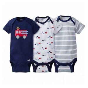 3-Pack Boys Firetruck Onesies® Brand Short Sleeve Bodysuits - Select Size (NEW)
