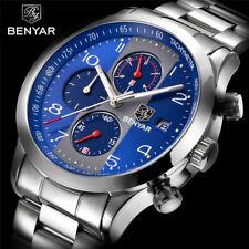 BENYAR Stainless Steel Band Chronograph Watches Men Military Pilot Quartz Watch