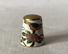 Beijing China Made Metal Brass and Enamel Thimble with Bird & Branches Theme