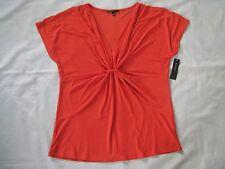 CHAUS L Mandarin Orange Polyester Spandex Knit Top Blouse V-Neck Empire Gathered