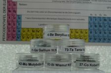 6x  Beryllium Gallium Tantal Molybdän Wismut Kobalt Metal element sample chemie