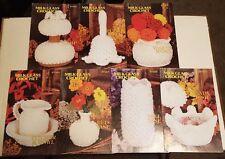 SET OF 7 MILK GLASS CROCHET PATTERNs ANNIE'S PATTERN CLUB (1982) 87Q01-87Q07