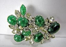 Vintage Christian Dior 1967 Rhinestone & Green Stone Pin Brooch
