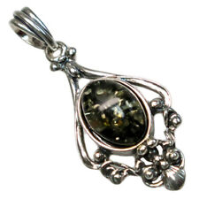 CLASSY GENUINE GREEN BALTIC AMBER 925 STERLING SILVER PENDANT