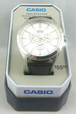 Casio Men's Quartz Silver Chronograph Black Leather 48mm Watch Mtpsw300