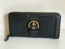 NEW! COACH CAMPBELL BLACK LEATHER ACCORDION BUCKLE ZIP WALLET CLUTCH PURSE $248