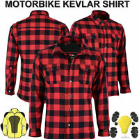 RED Motorcycle Motorbike Shirt Check Made with Kevlar Men Armoured Lumberjack