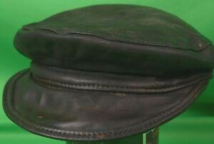 Black Leather Muir driver biker uniform cap hat Sparkly Leather  Small Buckle