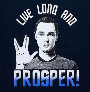 New Star Trek Live Long and Prosper Sheldon Big bang Mens  T-shirt