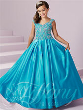 Blue Satin Beaded Communion Kid's Party Birthday Flower Girl Pageant Dance Dress
