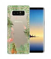 Coque Galaxy NOTE 8 Tropical day Flamant Ananas summer Exotique fleur