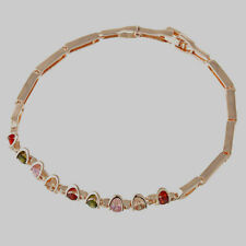 ,10K Rose Gold Filled GF Colour Stones Bracelet Bangle 18cm Long 7mm Wide