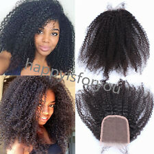 "8A Brazilian Remy Human Hair 4x4"" afro kinky curly lace closure baby hair 2017"