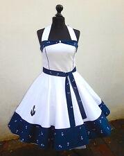 50er Petticoat Sailor Marine Nautic Segeln Maritim Anker Kleid nach Maß  34-54