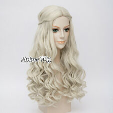 UK SELLER For White Queen Light Blonde 65cm Curly Cosplay Wig + Free Cap