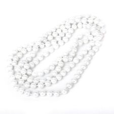 Faux Pearl Long Sweater Chain Necklace White M7K9