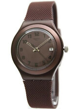 New Swatch Irony Big Aluminum Brown Effect Rubber Band Watch Date 38mm YGC4001