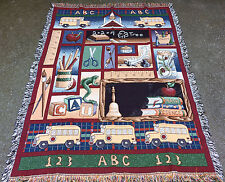 Teacher Collection ~ School Days Collage Tapestry Afghan Throw