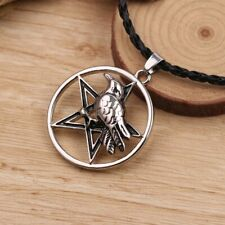 Norse Raven Pentacle Pendant Necklace Leather Cord Silver Wiccan Pagan Pentagram