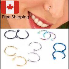 5Pcs Jewelry Stainless Steel Nose Open Hoop Ring Earring Body Piercing Studs