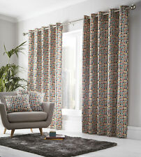 """Multicolour Geometric Semi-Circles  90"""" x 90"""" Lined Eyelet Ring Top Curtains"""